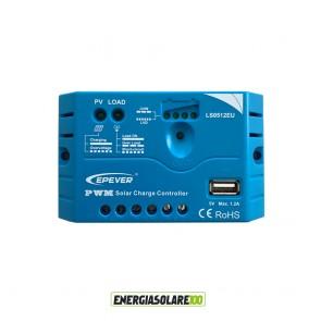 Regolatore di Carica 5A 12V serie EU con uscita USB da 5V/1.2A