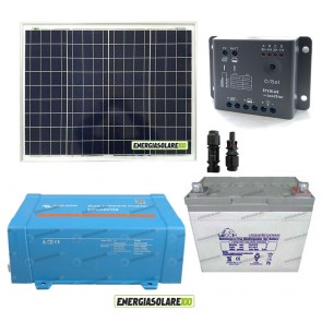Impianto solare baita 50W 12V inverter Victron 200W onda pura batteria Gel 30Ah regolatore con crepuscolare