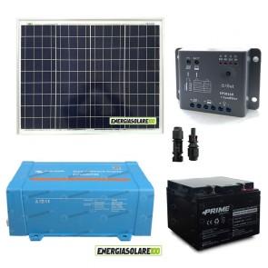Impianto solare baita 50W 12V inverter Victron 200W onda pura batteria AGM 24Ah regolatore con crepuscolare