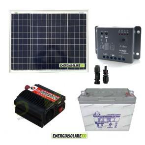 Impianto solare baita 50W 12V inverter 150W onda modificata batteria Gel 30Ah regolatore con crepuscolare