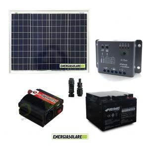Impianto solare baita 50W 12V inverter 150W onda modificata batteria AGM 24Ah regolatore con crepuscolare