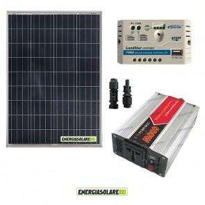 Kit Mini Baita pannello solare 100W inverter onda modificata 600W regolatore 10 A NVsolar