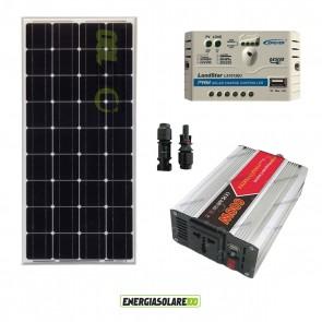Kit Mini Baita pannello solare 100W monocristallino inverter onda modificata 600W regolatore 10 A NVsolar