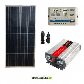 Kit Mini Baita pannello solare 150W inverter onda modificata 1000W regolatore 10 A EPsolar