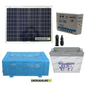 Impianto solare baita 50W 12V inverter Victron 200W onda pura batteria Gel 30Ah regolatore Ep Solar