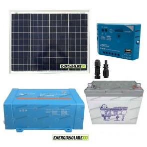Impianto solare baita 50W 12V inverter Victron 200W onda pura batteria Gel 30Ah regolatore con uscita USB