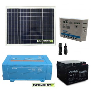Impianto solare baita 50W 12V inverter Victron 200W onda pura batteria AGM 24Ah regolatore Ep Solar