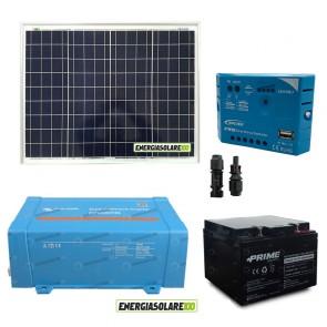 Impianto solare baita 50W 12V inverter Victron 200W onda pura batteria AGM 24Ah regolatore con uscita USB