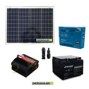 Impianto solare baita 50W 12V inverter 150W onda modificata batteria AGM 24Ah regolatore con uscita USB