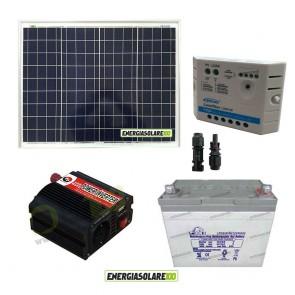 Impianto solare baita 50W 12V inverter 150W onda modificata batteria Gel 30Ah regolatore Ep Solar