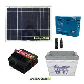 Impianto solare baita 50W 12V inverter 150W onda modificata batteria Gel 30Ah regolatore con uscita USB