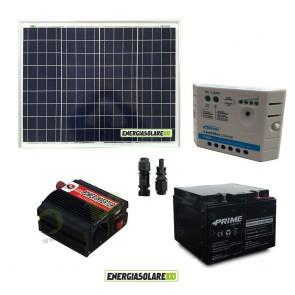 Impianto solare baita 50W 12V inverter 150W onda modificata batteria AGM 24Ah regolatore Ep Solar