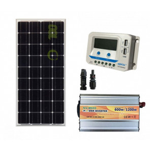 Kit Mini Baita pannello solare monocristallino 100W inverter onda modificata 600W regolatore 10 A EPsolar