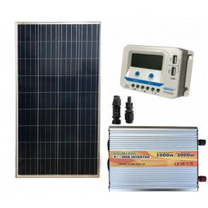 Kit fotovoltaico pannello solare 150W inverter onda modificata 1000W regolatore 10 A EPsolar