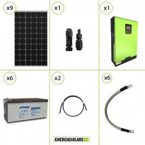 Impianto solare fotovoltaico 2.4KW 24V pannello monocristallino Inverter ibrido Edison 24V 3KW MPPT 80A batteria AGM 150Ah