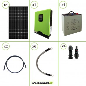 Impianto solare fotovoltaico 1.2KW 24V pannello monocristallino inverter onda pura Edison30 3KW PWM 50A batteria Litio 4kwh