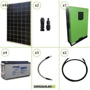 Impianto solare fotovoltaico 1.2KW 48V pannello monocristallino inverter onda pura Edison50 5KW PWM 50A batteria AGM
