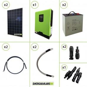 Impianto solare fotovoltaico 560W pannello policristallino inverter onda pura Edison30 3KW PWM 50A batteria Litiob
