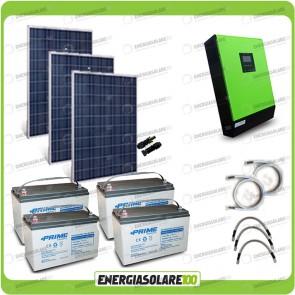Kit solare fotovoltaico 750W Inverter onda pura Genius 5000VA 4000W 48V MPPT 80A Batterie AGM
