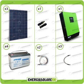 Kit solare fotovoltaico 750W Inverter onda pura Genius 5000VA 4000W 48V 2 regolatori MPPT 60A Batterie AGM