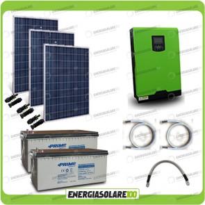 Kit solare fotovoltaico 750W Inverter onda pura Edison30 3000VA 2400W PWM 50A Batterie AGM