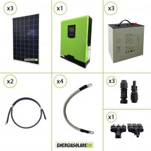 Impianto solare fotovoltaico 840W 24V pannello policristallino inverter onda pura Edison30 3KW PWM 50A batteria Litio 3kwh