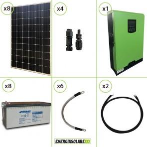 Impianto solare fotovoltaico 2.4KW 48V pannello monocristallino inverter onda pura Edison50 5KW PWM 50A batteria AGM