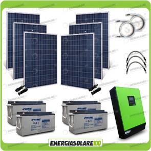 Kit solare fotovoltaico 1.5KW Inverter onda pura Genius 5000VA 4000W 48V MPPT 80A Batterie AGM