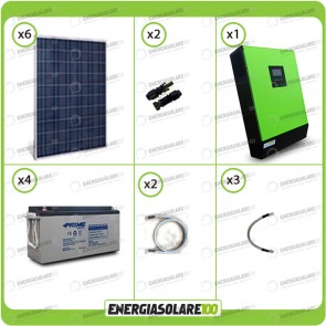 Kit solare fotovoltaico 1.5KW Inverter onda pura Genius 5000VA 4000W 48V 2 regolatori MPPT 60A Batterie AGM