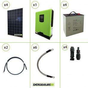 Impianto solare fotovoltaico 1.1KW 24V pannello policristallino inverter onda pura Edison30 3KW PWM 50A batteria Litio 4kwh