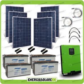 Kit solare fotovoltaico 1.5KW Inverter onda pura Edison50 5000VA 4000W 48V PWM 50A Batterie AGM