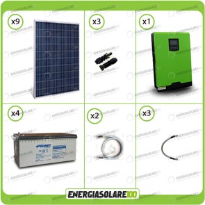 Kit solare fotovoltaico 2.2KW Inverter onda pura Genius 5000VA 4000W 48V MPPT 80A Batterie AGM