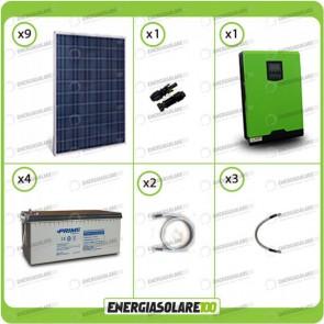 Kit solare fotovoltaico 2.4KW Inverter onda pura Genius 5kW 48V MPPT Batterie AGM