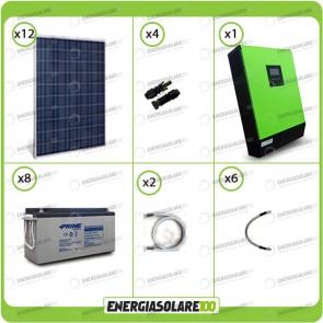 Kit solare fotovoltaico 3KW Inverter onda pura Genius 5000VA 4000W 48V 2 regolatori MPPT 60A Batterie AGM