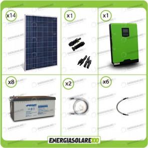 Kit solare fotovoltaico 3.7KW Inverter onda pura Genius 5000VA 4000W 48V MPPT 80A Batterie AGM