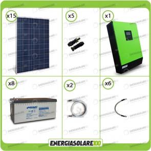 Kit solare fotovoltaico 3.7KW Inverter onda pura Genius 5000VA 4000W 48V 2 regolatori MPPT 60A Batterie AGM