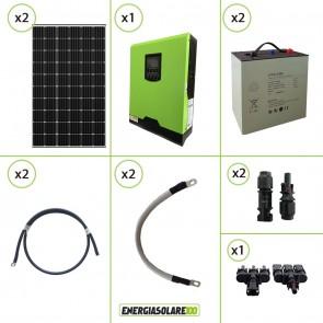 Impianto solare fotovoltaico 600W 24V pannello monocristallino inverter onda pura Edison30 3KW PWM 50A batteria Litio 2kwh