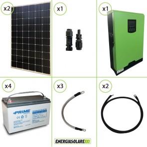 Impianto solare fotovoltaico 600W 48V pannello monocristallino inverter onda pura Edison50 5KW PWM 50A batteria AGM
