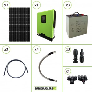 Impianto solare fotovoltaico 900W 24V pannello monocristallino inverter onda pura Edison30 3KW PWM 50A batteria Litio 3kwh