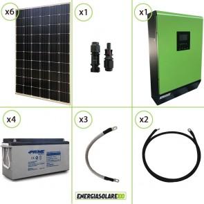 Impianto solare fotovoltaico 1.8KW 48V pannello monocristallino inverter onda pura MPGEN50V2 5KW MPPT 80A batteria AGM