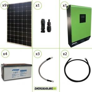 Impianto solare fotovoltaico 2.7KW 48V pannello monocristallino inverter onda pura MPGEN50 5KW MPPT 80A batteria AGM