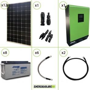 Impianto solare fotovoltaico 3.6KW 48V pannello monocristallino inverter onda pura MPGEN50 5KW MPPT 80A batteria AGM