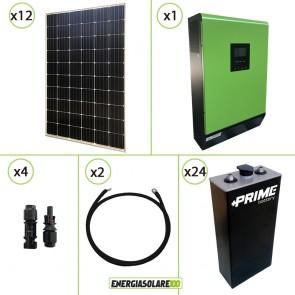 Impianto solare fotovoltaico 3.6KW 48V pannello monocristallino inverter onda pura 5KW MPGEN50 80A MPPT batteria Opzs