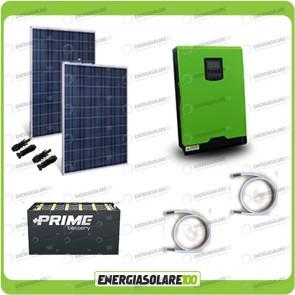Kit solare fotovoltaico 500W Inverter onda pura Edison30 3000VA 2400W PWM 50A Batterie OPzS