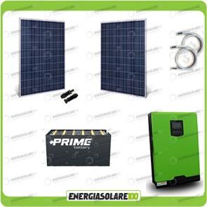 Kit solare fotovoltaico 500W Inverter onda pura Edison50 5000VA 4000W 48V PWM 50A Batterie OPzS