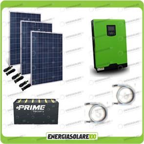 Kit solare fotovoltaico 750W Inverter onda pura Edison30 3000VA 2400W PWM 50A Batterie OPzs