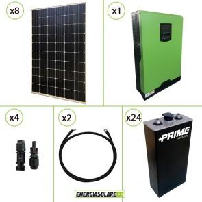 Impianto solare fotovoltaico 2.4KW 48V pannello monocristallino inverter onda pura Edison50 5KW PWM 50A batteriaOPZS