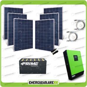 Kit solare fotovoltaico 1.5KW Inverter onda pura Genius 5000VA 4000W 48V MPPT 80A Batterie OPzS