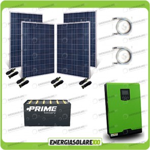 Kit solare fotovoltaico 1KW Inverter onda pura Edison30 3000VA 2400W PWM 50A Batterie OPzs