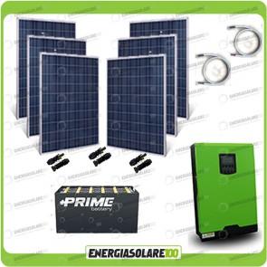 Kit solare fotovoltaico 1.5KW Inverter onda pura Edison50 5000VA 4000W 48V PWM 50A Batterie OPzS